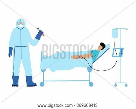 Doctor Epidemiologist Virologist In Protective Suit Take Care About Patient Ward In Bed. Injection O