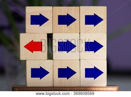 Wooden Block With Red Arrow Facing The Opposite Direction Black Arrows, Unique, Think Different, Ind