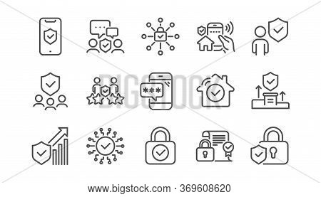 Security Line Icons Set. Password, Unlock, Cyber Lock. Guard, Shield, Home Security System Icons. Ey