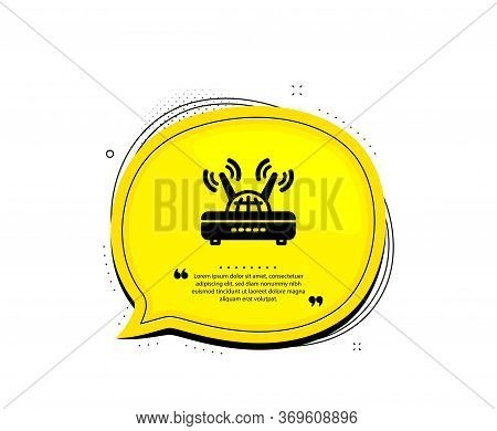 Wifi Router Icon. Quote Speech Bubble. Computer Component Sign. Internet Symbol. Quotation Marks. Cl