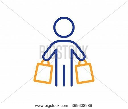 Buyer With Shopping Bags Line Icon. Customer Sign. Supermarket Client Symbol. Colorful Thin Line Out