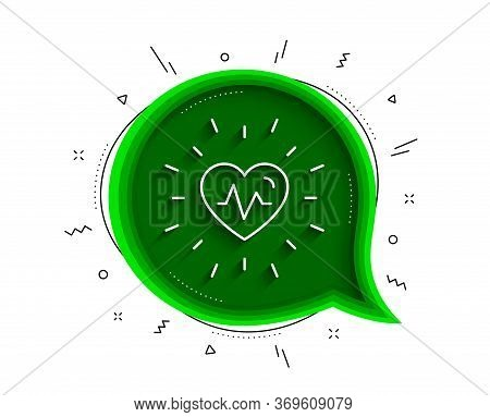 Heartbeat Line Icon. Chat Bubble With Shadow. Medical Hear Beat Sign. Medicine Symbol. Thin Line Hea