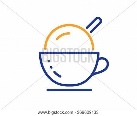 Coffee Cup With Ice Cream Line Icon. Vanilla Sundae Sign. Frozen Summer Dessert Symbol. Colorful Thi
