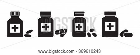 Drugstore. Medicine Bottles And Pills. Medicaments Isolated On White Background. Vector Illustration