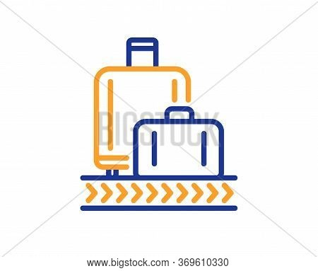 Airport Baggage Reclaim Line Icon. Airplane Luggage Lane Sign. Flight Checked Bag Symbol. Colorful T