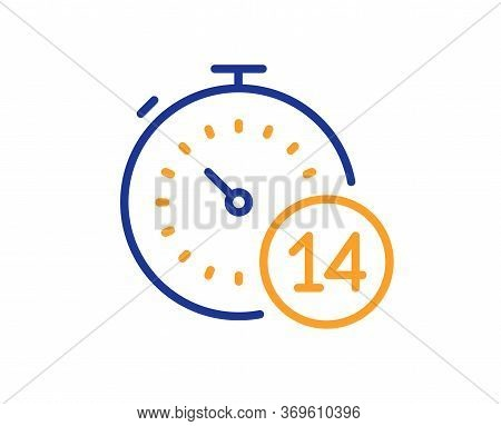 Quarantine Timer Line Icon. Coronavirus Incubation Period Sign. Self-isolation Symbol. Colorful Thin