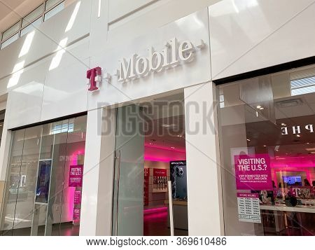 Orlando,fl/usa-2/17/20: The T Mobile Storefront At The Millenia Mall In Orlando, Florida.