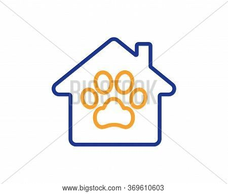 Pet Shelter Line Icon. Veterinary Clinic Sign. Pets Care Symbol. Colorful Thin Line Outline Concept.