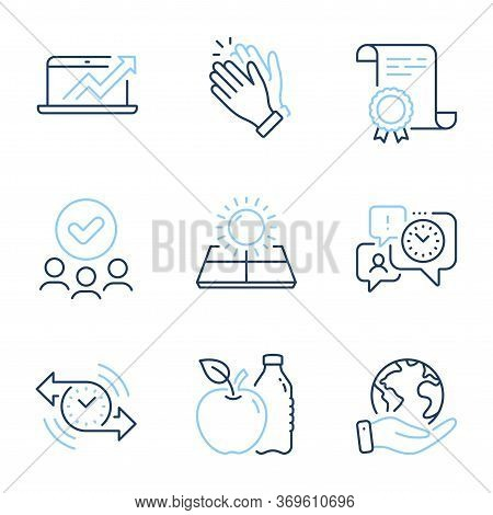 Time Management, Clapping Hands And Sun Energy Line Icons Set. Diploma Certificate, Save Planet, Gro