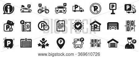 Car Garage, Valet Servant And Paid Transport Parking Icons. Parking Icons. Video Monitoring, Bike Or