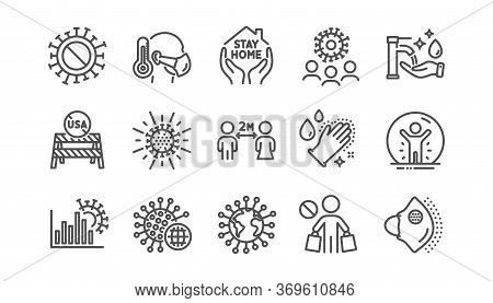 Coronavirus Line Icons Set. Covid-19 Virus Pandemic. Medical Protective Mask, Washing Hands Hygiene,