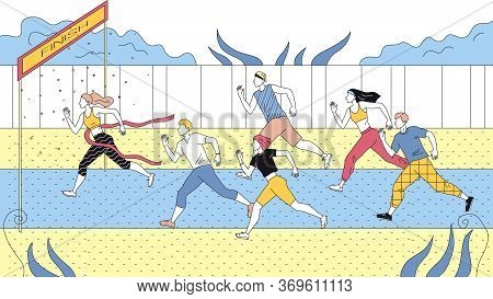 Concept Of Sports Competition Of Jogging. Sportsmen Dressed In Sports Clothes Running Marathon Or Sp
