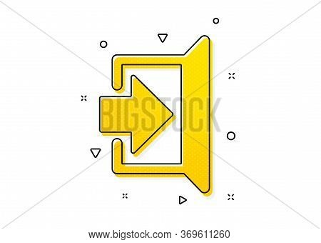 Open Door Sign. Exit Icon. Entrance Symbol With Arrow. Yellow Circles Pattern. Classic Exit Icon. Ge