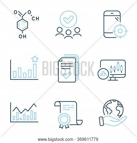 Candlestick Chart, Efficacy And Infochart Line Icons Set. Diploma Certificate, Save Planet, Group Of