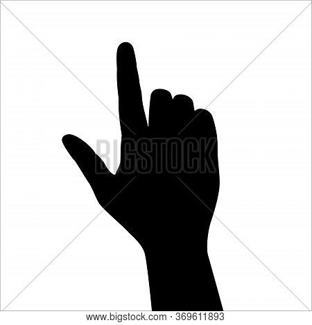 Forefinger Gesture. Monochrome Icon. Close Up Of Touch Of Forefinger To Press Something Isolated On