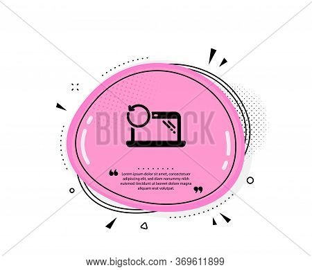 Recovery Laptop Icon. Quote Speech Bubble. Backup Data Sign. Restore Smartphone Information Symbol.