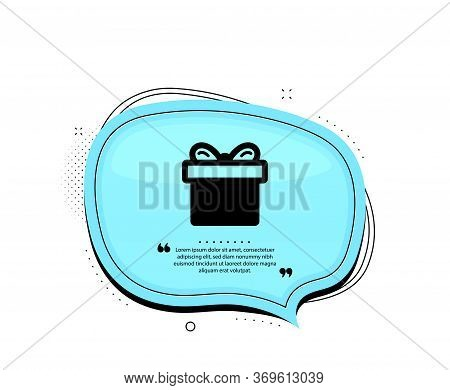 Gift Box Icon. Quote Speech Bubble. Present Or Sale Sign. Birthday Shopping Symbol. Package In Gift