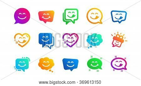 Emoticon Speech Bubble, Social Media Message, Smile With Tongue. Yummy Smile Icons. Tasty Food Eatin