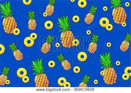 Whole Pineapples And Slices Of Pineapple Of Different Sizes Are Located On A Blue Background. Summer