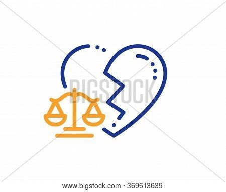 Divorce Lawyer Line Icon. Justice Scales Sign. Marriage Law Symbol. Colorful Thin Line Outline Conce