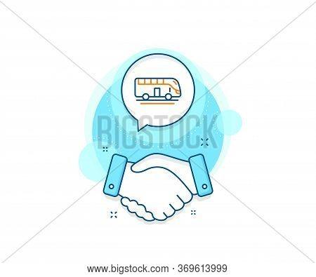 Transportation Sign. Handshake Deal Complex Icon. Bus Tour Transport Line Icon. Tourism Or Public Ve