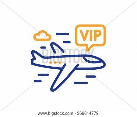 Vip Flight Line Icon. Very Important Person Airplane Sign. Charter Plane Symbol. Colorful Thin Line
