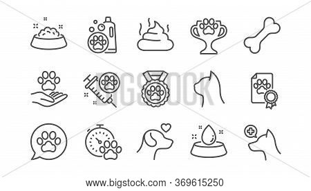 Pets Line Icons Set. Veterinary, Cat Food And Dog Care. Lovely Animals, Shampoo For Pets And Doghous