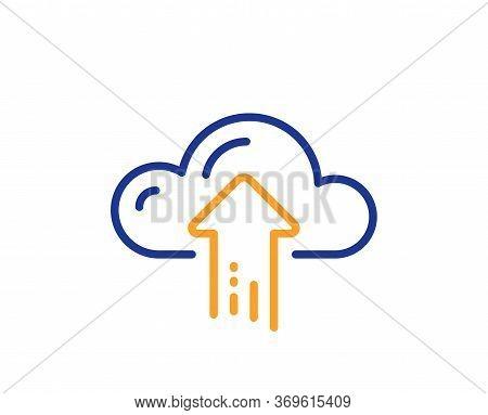 Cloud Computing Upload Line Icon. Internet Data Storage Sign. File Hosting Technology Symbol. Colorf
