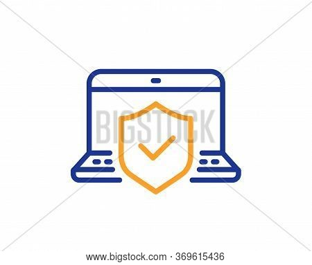 Laptop Insurance Hand Line Icon. Risk Coverage Sign. Notebook Protection Symbol. Colorful Thin Line