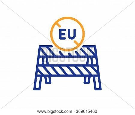 Eu Close Borders Line Icon. Coronavirus Covid-19 Pandemic Sign. Travel Restrictions Symbol. Colorful