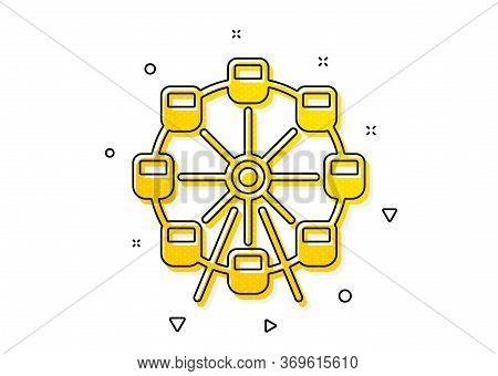 Amusement Park Sign. Ferris Wheel Icon. Carousels Symbol. Yellow Circles Pattern. Classic Ferris Whe