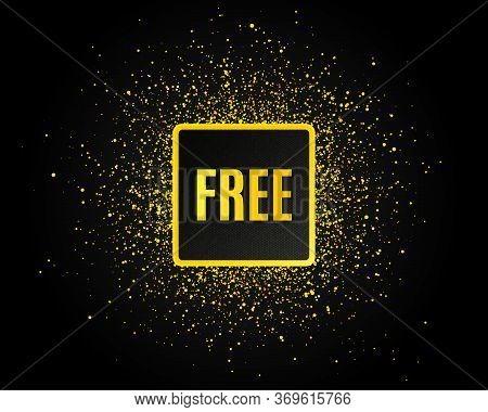 Free Symbol. Golden Glitter Pattern. Special Offer Sign. Sale. Black Banner With Golden Sparkles. Fr