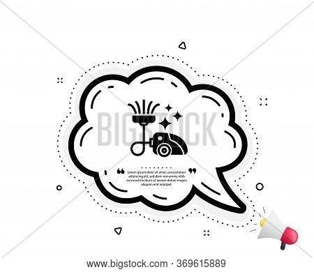 Vacuum Cleaner Icon. Quote Speech Bubble. Cleaning Service Symbol. Hoover Sign. Quotation Marks. Cla