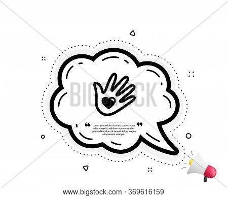 Social Responsibility Icon. Quote Speech Bubble. Hand With Heart Sign. Charity Symbol. Quotation Mar