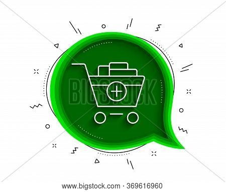 Add To Shopping Cart Line Icon. Chat Bubble With Shadow. Online Buying Sign. Supermarket Basket Symb