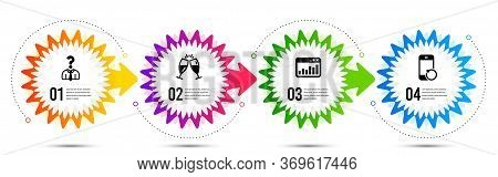 Hiring Employees, Marketing Statistics And Recovery Phone Icons Simple Set. Timeline Steps Infograph