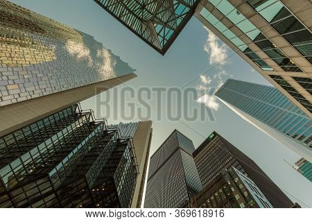 Toronto, Ontario, Canada, July 24, 2019, Great View From The Ground To Top On Modern Architectural C