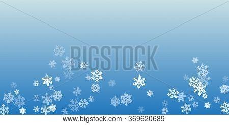 Winter Snowflakes Border Trendy Vector Background.  Macro Snowflakes Flying Border Design, Holiday B