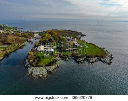 Aerial View Of Castle Hill Inn Beachfront Luxury Hotel With Ocean, Newport, Rhode Island, Usa. May 1
