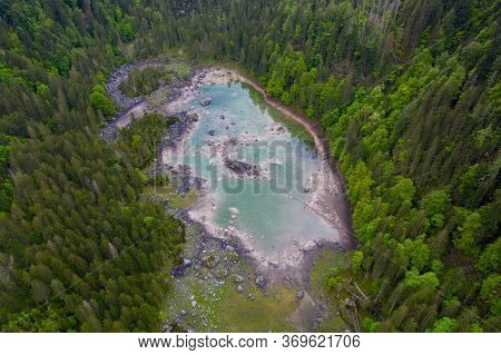 Alpine Mountain Lake Gosausee Gosaulacke Aerial Drone View In Summer