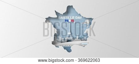 Happy Bastille Day. French National Day Poster And Banner Concept. Paper Craft And Cut Style Of Map