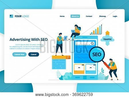 Vector Landing Page Design Of Advertising With Seo. Target Keywords To Increase Traffic. Illustratio