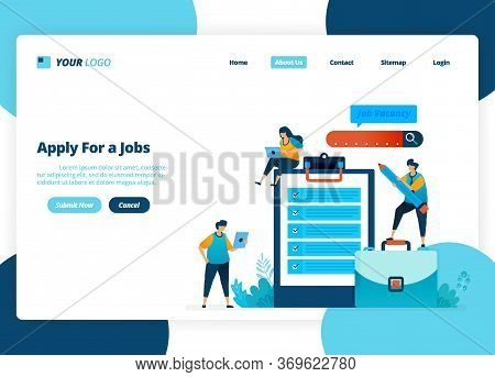 Vector Landing Page Design Of Apply For Jobs. Selection Of Recruitment And Job Advertisements. Illus