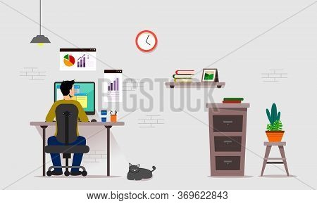 Work From Home Vector Illustration Design. Man Working At Home With His Computer, Concept Illustrati