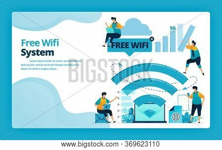 Vector Illustration Of Landing Page Of Free Wifi System For A Cheaper And More Efficient Internet Co