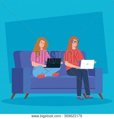 Women Working In Telecommuting With Laptop In Couch Vector Illustration Design