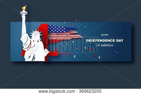 4th Of July Greeting Card With Paper Art And Cut Style Background. United States National Flag In Ma