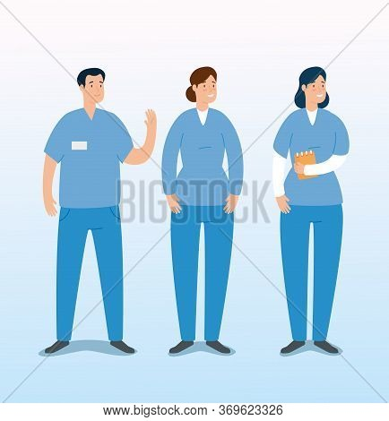 Group Of Paramedics Avatar Characters Vector Illustration Design