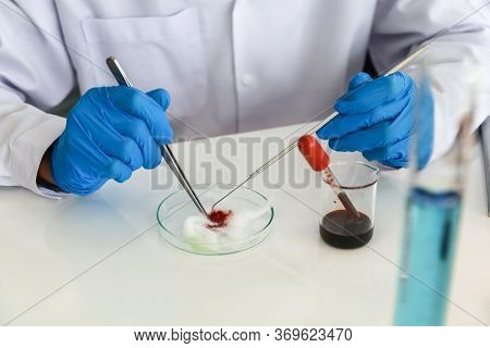 Professional Doctor Scientist Wearing Blue Rubber Gloves Using Needle And Forceps To Research In Wor