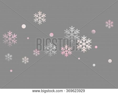 Crystal Snowflake And Circle Elements Vector Design. Minimal Winter Snow Confetti Scatter Flyer Back